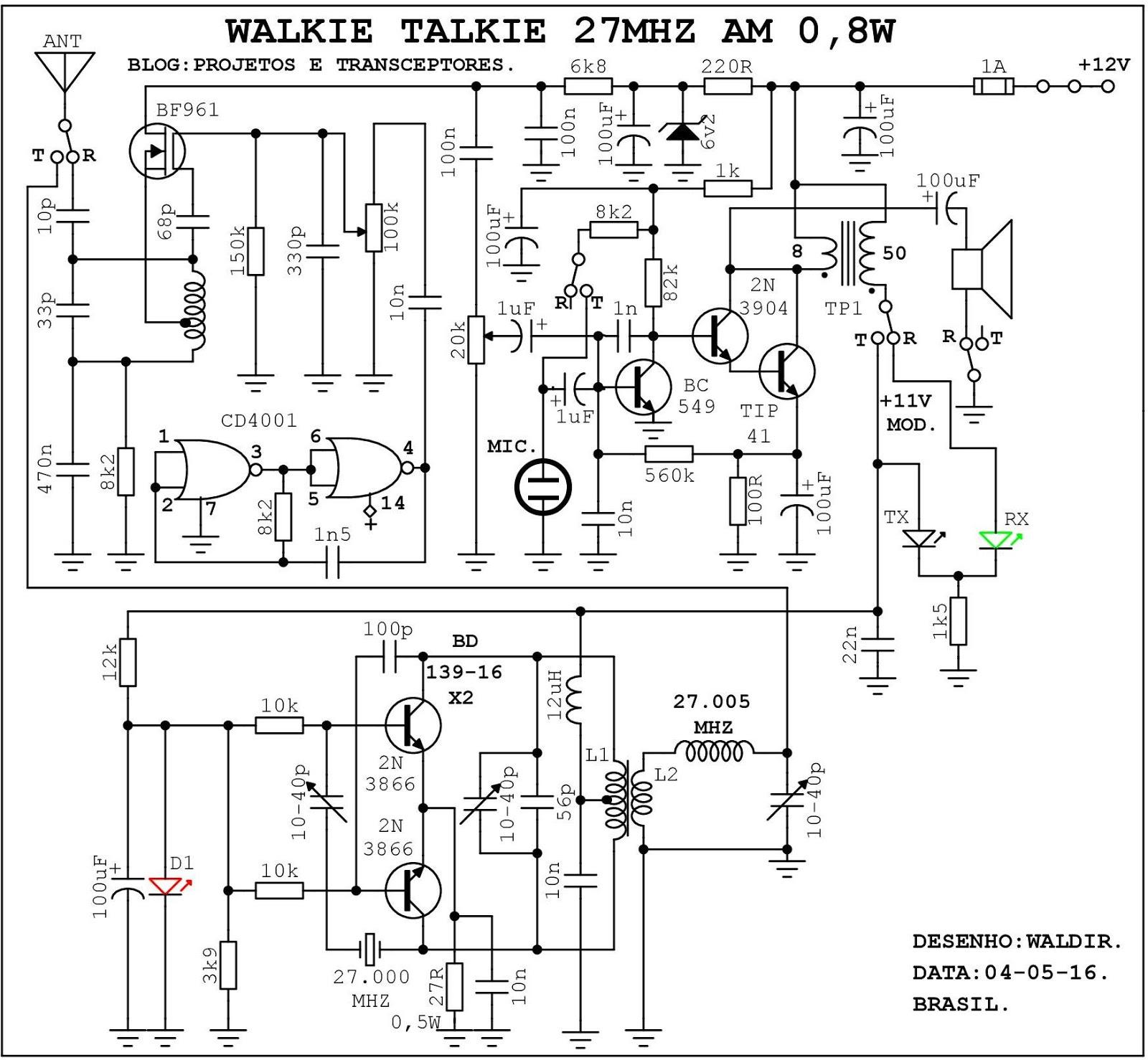 projetos e transceptores   simples walkie talkie 27mhz am