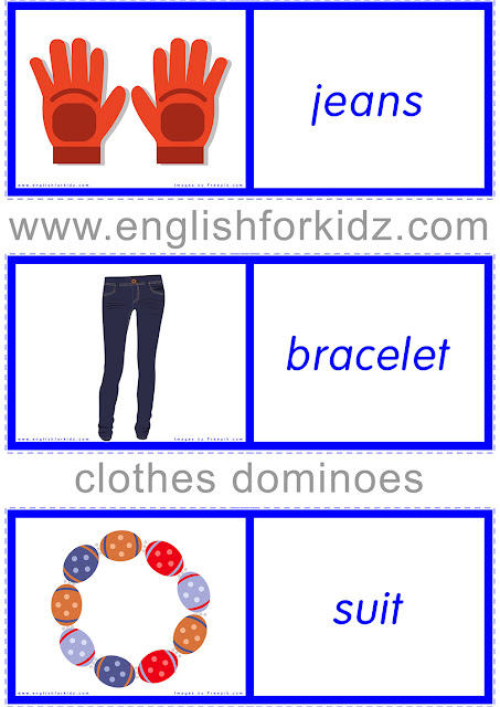 Free clothes domino game for kids learning English