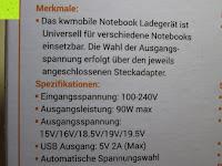 Merkmale und Spezifikationen: kwmobile Universal Notebook Ladegerät Netzteil 90W und USB Anschluss, Adapter für Acer, Asus, Lenovo, Liteon, Samsung, Sony, Toshiba und weiteren