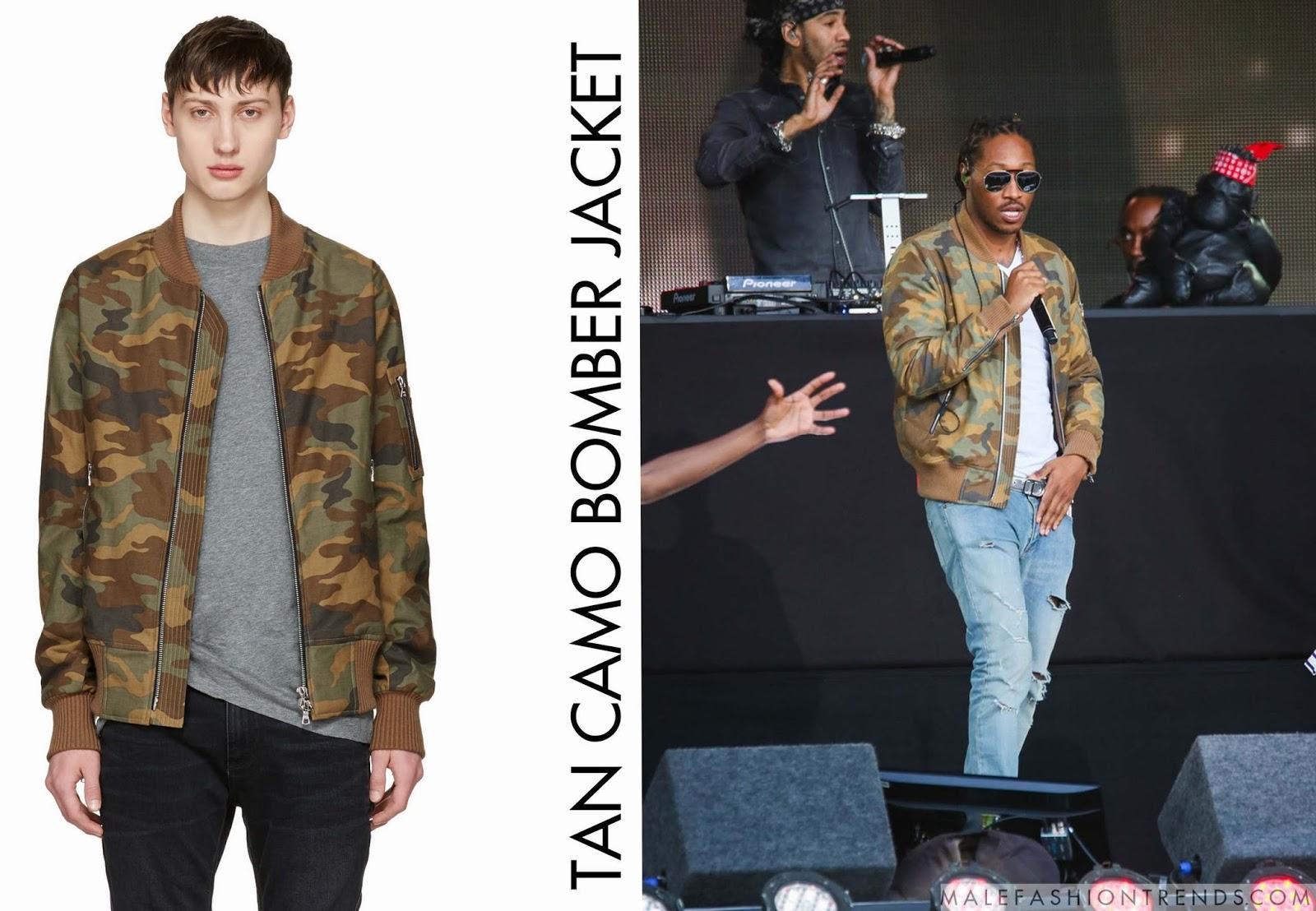 7e3d5f0c7877c Future y su Tan Camo Bomber Jacket de Amiri - Male Fashion Trends