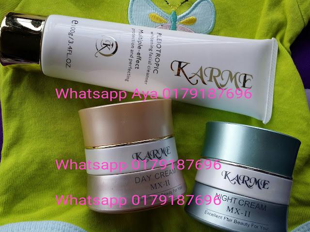 KARME WHITENING SKIN CARE  1 SET: RM165 S/M..RM170 S/S-FREE POSLAJU (Day cream 15ML  + Night cream15ML + Pleiotropic facial wash 100G+ FREE POS LAJU!)   PEMBELIAN SECARA ASING (LOOSE) Harga Per Item (FREE Poslaju)  Day Cream 15ml : RM65 S/M..RM70 S/S Night Cream 15ml : RM65 S/M..RM70 S/S Facial Wash 100g : RM40 S/M..RM45 S/S  Order: Hantarkan maklumat diri anda (item, nama, alamat penuh, no hp) Kepada AYA 0179187696  ADAKAH sayam2 dan Daling2 Masih Mencari Produk Pencerah Kulit Yg Berkesan Menghilangkan  Kulit BERJERAWAT ?  BERJERAGAT ?  BERMINYAK ? BERKUSAM DAN GELAP ?  Sudah Banyak Duit Dibelanjakan Untuk Kecantikan Kulit ? Sudah Mencuba Hampir Semua Produk ? Kesudahannya Kulit Masih Sama Dan Duit Beribu Dibelanjakan Semata-Mata Mahukan Kuli wajah Yg Sihat, putih dan gebu..   ♥ KARME WHITENING SKIN CARE  ♥  Produk karme ini mengandungi bahan-bahan yang penuh dengan ciri2 ekstrak sayuran semulajadi yang tidak membahayakan kulit anda. Ia juga mendapat kelulusan dari INTERNATIONAL BEAUTY EXPERTS OF GERMAN yang mengatakan produk ini TIADA KESAN SAMPINGAN. Produk ini juga SESUAI UNTUK SEMUA JENIS KULIT. Ia mengandungi bahan pelembap untuk kulit yang kering, kulit yang berminyak, berjerawat dan jeragat. Mengandungi bahan polysaccharide dan acid amino untuk membantu pencerahan kulit.  Pencuci muka pemutih pleiotropic adalah untuk membuang segala kotoran dan minyak yang berada di dalam riang roma kulit.  Krim malam & siang mengandungi kesan bahan yang berulang menghilangkan kesan jerawat, jeragat dan bintik hitam di muka. Ia mengembalikan kulit yang kusam dan yang paling penting ialah dapat memutihkan kulit dalam jangka masa yang singkat serta menjadikan kulit anda lebih anjal dan sekata.  Tunggu apa lagi, dapatkan set KARME WHITENING SKIN CARE sekarang !! Menjadi Pilihan NO 1 Masyarakat Malaysia. DAPATKAN HARI INI Juga ! Kesan Dapat Dilihat Seawal 5-7 Hari Penggunaan !