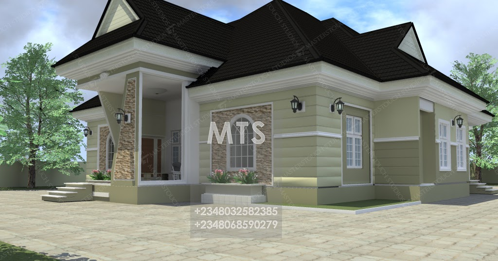 4 bedroom bungalow with office for Four bedroom bungalow