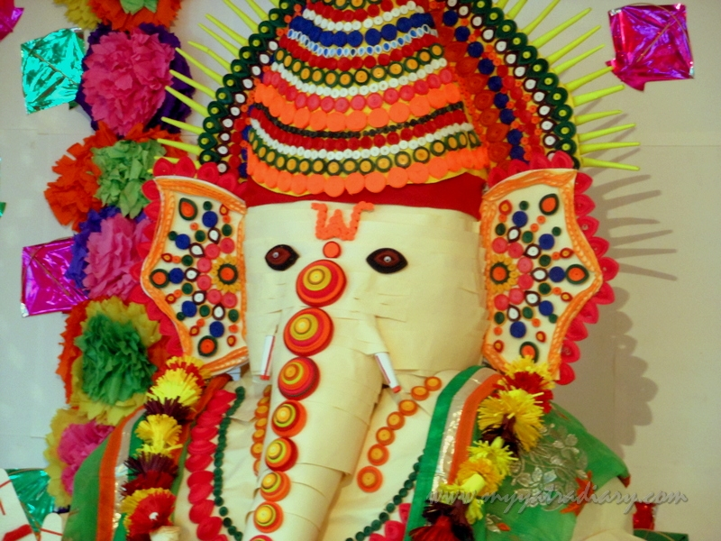 Eco friendly Ganesha made of paper, Ganesh Chaturthi Mumbai Pandal Hopping