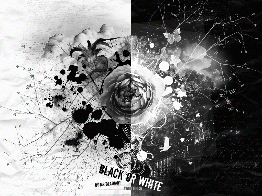 Wallpaper 3d Abstract : Black And White Awesome