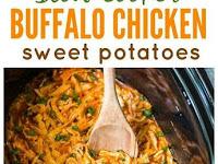 Slow Cooker Buffalo Chicken Sweet Potatoes
