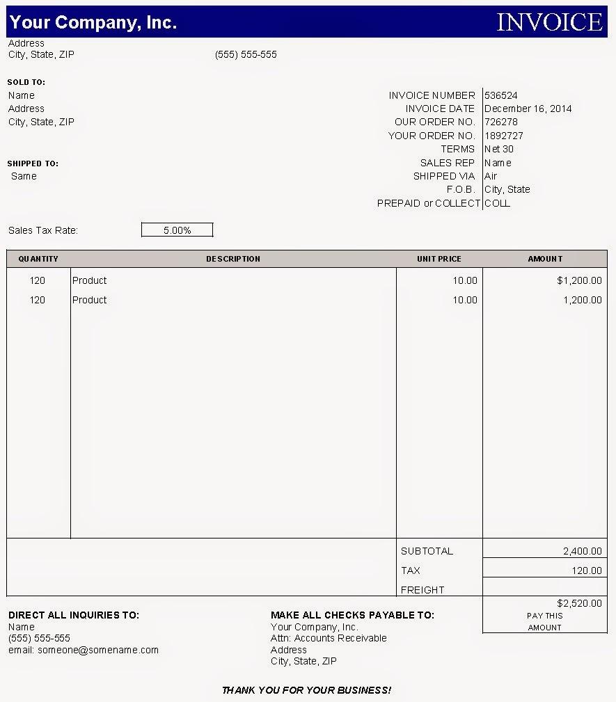 Contoh Surat Penagihan Harga Jasa Desain: Sample Invoice Dalam Bentuk Excel