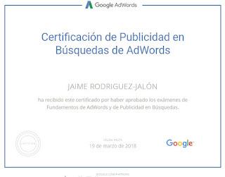 Jaime Rodriguez-Jalón Certificación de Publicidad para Búsquedas de Google AdWords