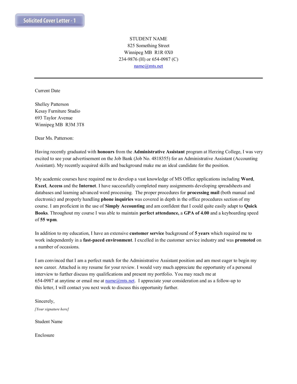 Solicited cover letter accounting August 15