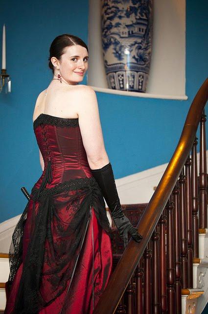 Steampunk Neo Victorian Wedding Dress In Burgundy And Black