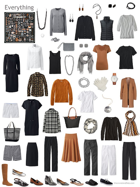 capsule wardrobe based on an Hermes scarf, in black, grey, orange and white