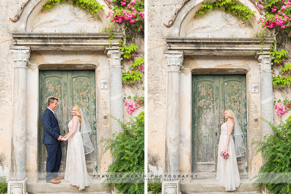 Bride with Ravello green door