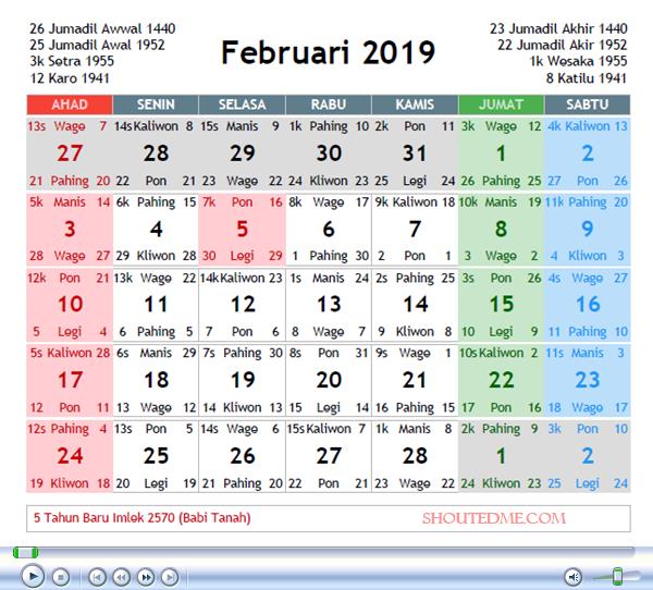 kalender jawa 2019 februari