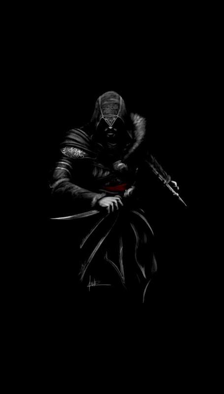 Ezio assassin Assassins Creed dark minimal art 720x1280