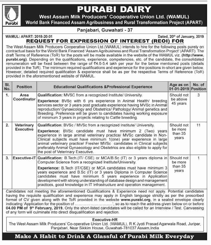 Bank Jobs In India Junior Assistant Posts In National Co: Purabi Dairy/ WAMUL Recruitment 2019 : Area Coordinator