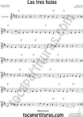 Clarinete Partitura de Las Tres Hojas Sheet Music for Clarinet Music Score