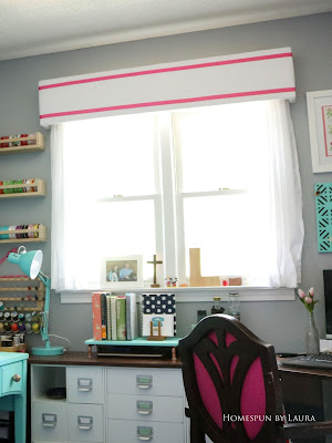 One Room Challenge Week 6 Home Office Sewing Craft Room Transformation sewing machine thread ribbon organization DIY ribbon cornice