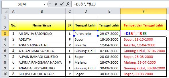 Fungsi dan rumus Excel untuk Menggabungkan Teks