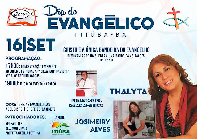 Itiúba-BA: DIA DO EVANGÉLICO SERÁ DIA 16 DE SETEMBRO, PARTICIPE!