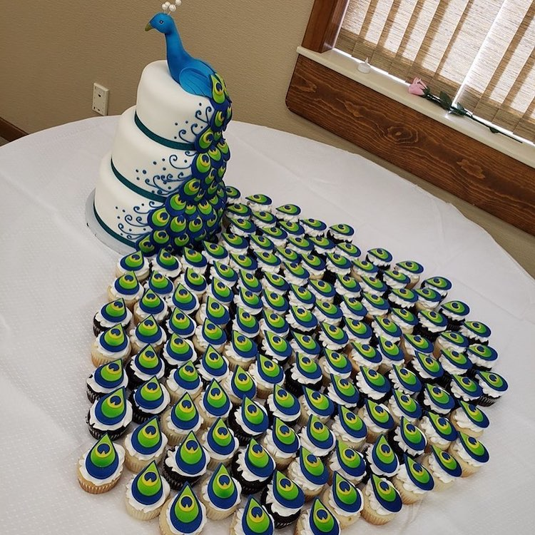 Bakers Designed An Amazing Peacock Wedding Cake Using A Trail Of Tail Feather Cupcakes