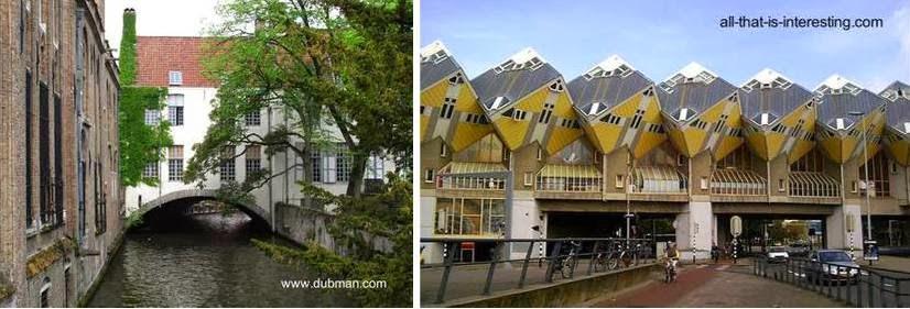 Una casa sobre un antiguo puente, y casas contemporáneas sobre puente urbano en Europa