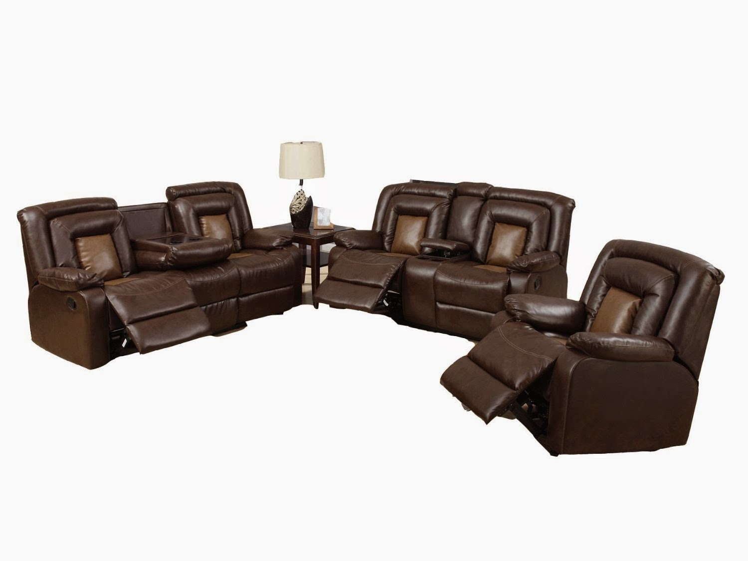 Beverly Dual Reclining Sofa With Drop Down Table With 5 Recliners And  Rocking Chair