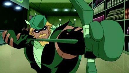 """No desenho """"Liga da Justiça Sem Limites"""", venho Oliver utilizando uma flecha tendo uma luva de box na ponta..."""