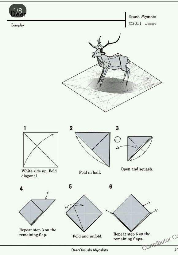 Ruby Book Origami: Diagram Deer-Yasushi Miyashita
