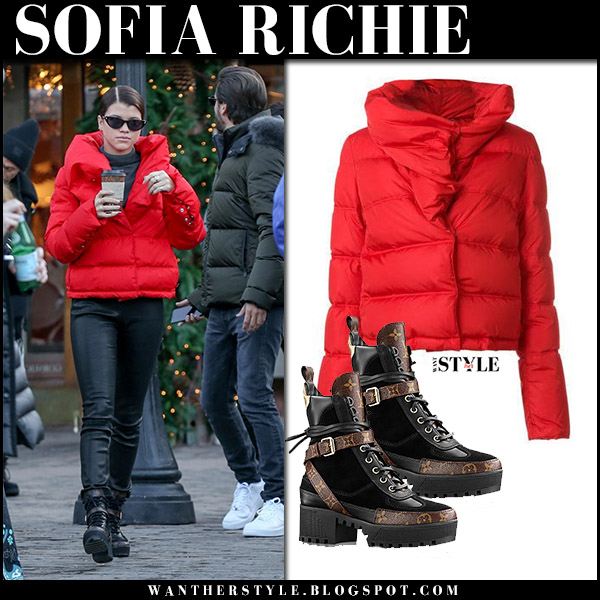 Sofia Richie in red puffer jacket givenchy, black pants and ankle boots louis vuitton winter street style december 29