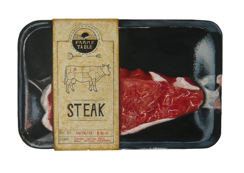 Barquette de viande anglaise créée au crayons de couleur par l'artiste 1011