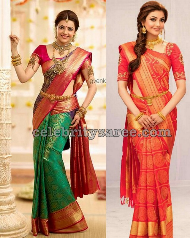 Kajal Agarwal Colorful Bridal Sarees