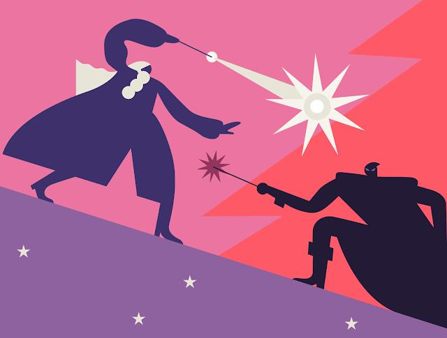 Дуелът на Гриндълуолд и Дъмбълдор - илюстрация