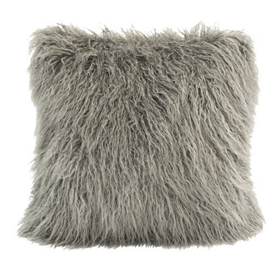 Gray Mongolian Fur Pillow by HiEnd Accents, HomeMax