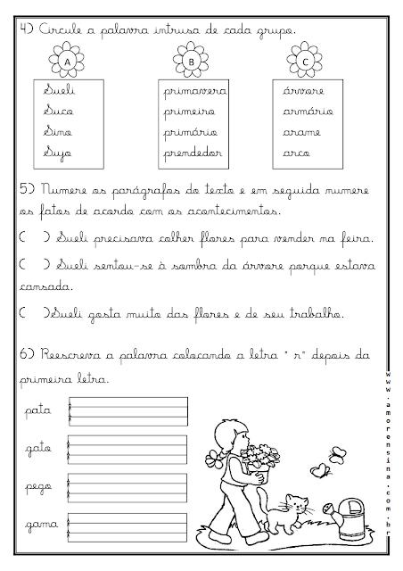 1º ano, 2º ano, Alfabetizar com amor, Amorensina, Atividades 1º ano, Pequeno texto com letra cursiva, Primavera, Texto e Interpretação para o 1º ano, Texto e Interpretação para o 2º ano,
