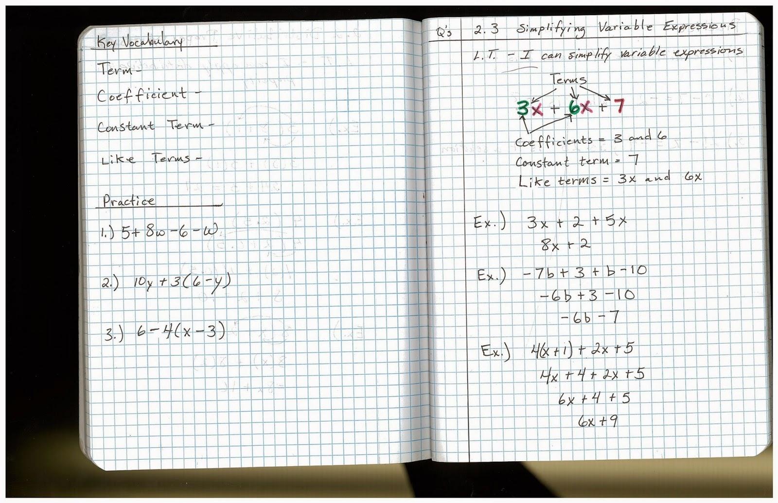 Heidemann 8th Grade Math October