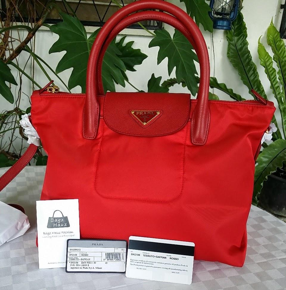 8c47e2cff27f ... italy prada bn2106 tessuto saffian tote color rosso red size 29 x 21 x  18cm sold