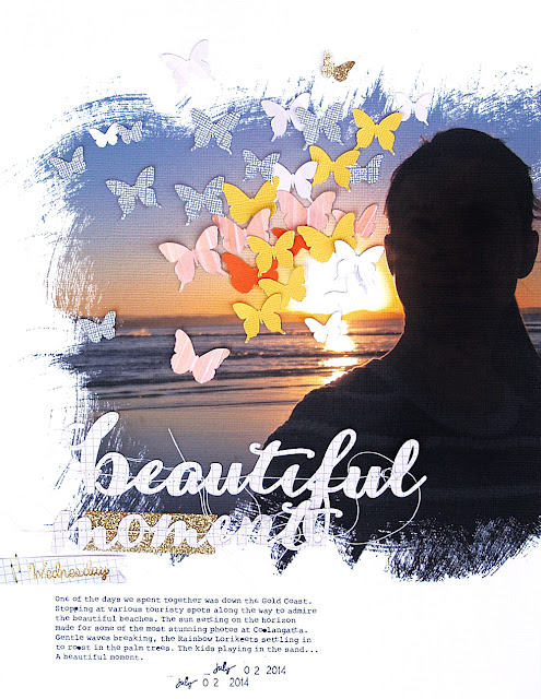 Beautiful Moment Scrapbook Page by Chantalle McDaniel using 17turtles Digital Cut Files