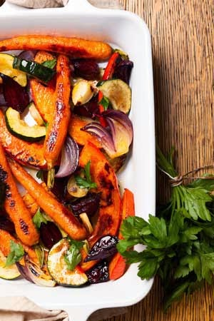 Healthy roasted Thanksgiving Fall harvest vegetables for good nutrition