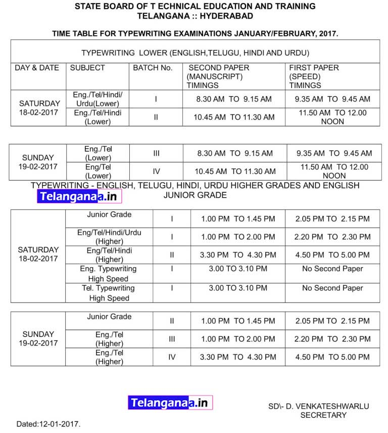 TS SBTET Short Hand Type Writing Time Table 2017
