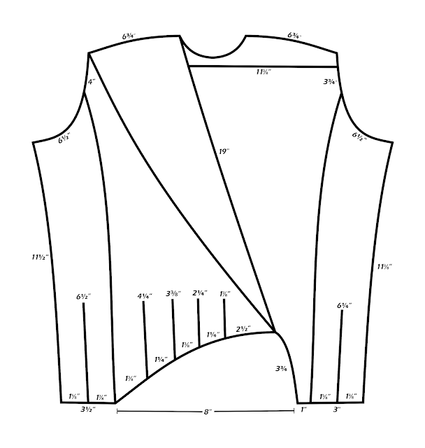 TNG season 1 admiral jacket - front measurements