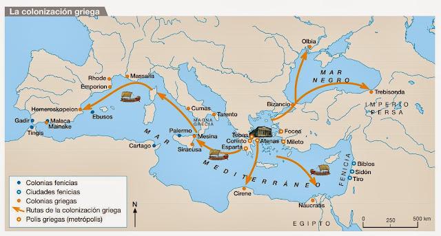 Resultado de imagen de mapa fundaciones griegas