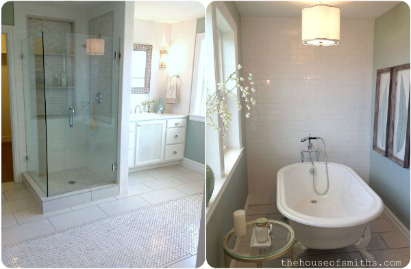 spa-like bathroom design - claw foot tub - subway tiles