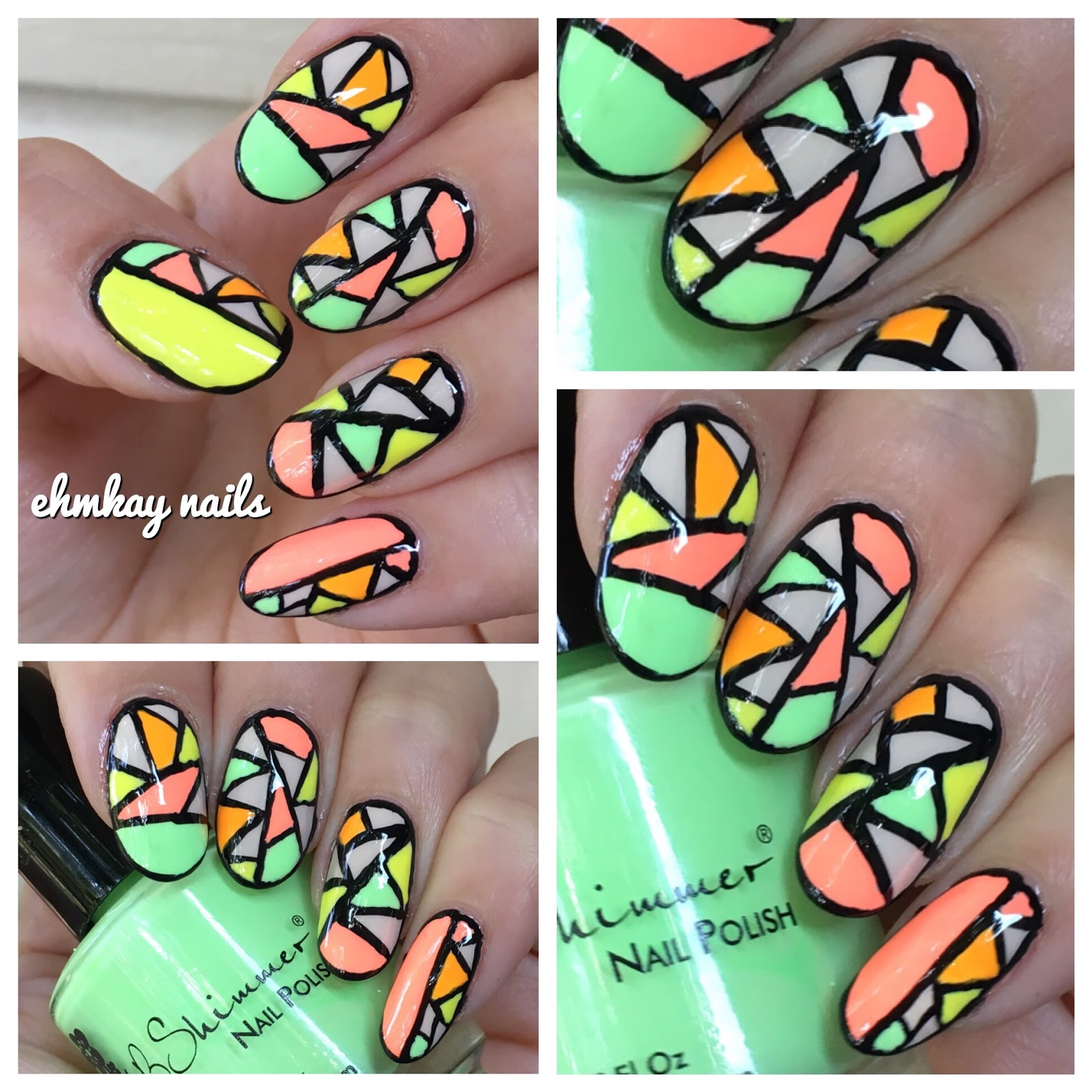 Stained Glass Nail Art: Ehmkay Nails: Neon Stained Glass Nail Art Featuring KB Shimmer