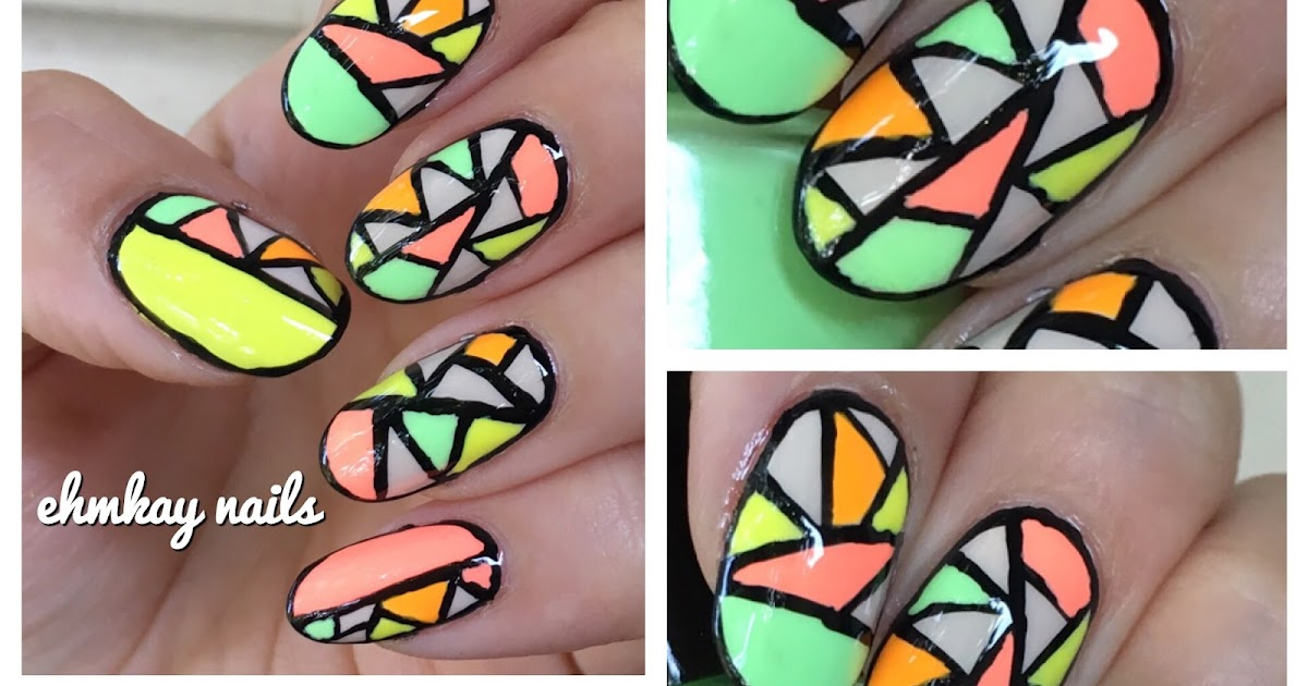 ehmkay nails: Neon Stained Glass Nail Art featuring KB Shimmer