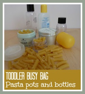 Toddler busy bag activity - pasta and bottles