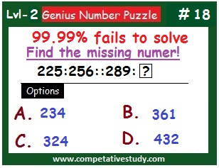 Math Puzzle: Find the missing number: 225 : 256 :: 289 : ?