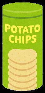 ポテトチップスのイラスト(筒・緑)