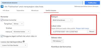 Setting lokasi upload sesuai negara target pengunjung