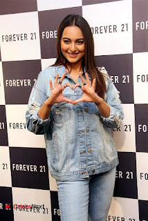 Actress Sonakshi Sinha Pos in Denim Jeans at Forever 21 Shop Launch at Express Avenue Mall  0004.jpg