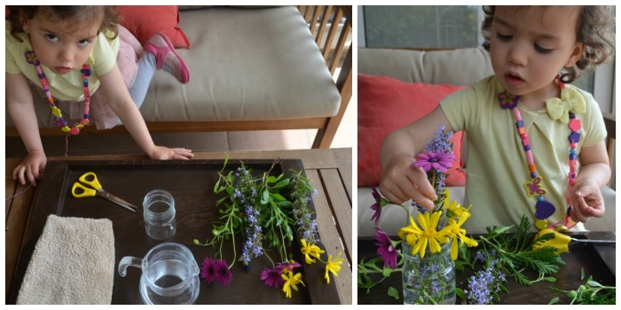 manualidad infantil creativa primavera: arreglos florales montessori