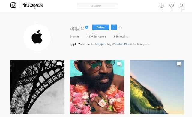 Akun instagram resmi apple dengan nama pengguna @apple